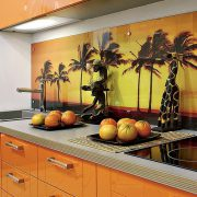 Custom printed glass backsplash
